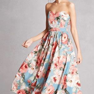 Floral Strapless Tea Dress